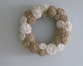 "Burlap Flowers Wreath - 18"" - White & Natural"