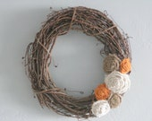 "Grapevine Burlap Wreath - 14"" - orange"