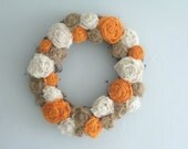 "Grapevine Wreath - 14"" - Orange, White & Natural Flowers"