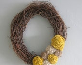 "Grapevine Wreath - 14"" - Yellow, White & Natural Burlap Flowers"
