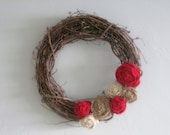 "Grapevine Wreath - 14"" - Red, White & Natural Burlap Flowers"