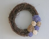 "Grapevine Burlap wreath- 14"" purple"