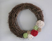 "Grapevine Burlap Wreath - 18"" - Natural, Ivory, Red, and Green"
