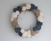 "Grapevine Burlap Wreath - 18"" - natural, ivory, and navy blue"