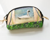 Woman Wallet - genuine leather soft brown pouch hand painted change purse with swan
