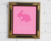 Pink Rabbit with Personalized Name - 8x10 Print - FREE SHIPPING