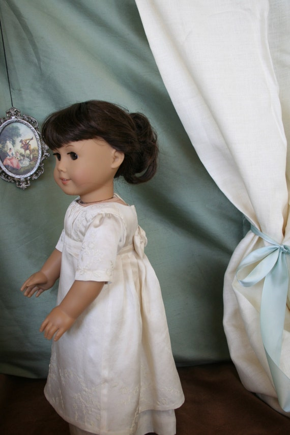 An Evening at Pemberly. A detailed hand embroidered repilca of a dress worn by Jennifer Ehle in Pride and Prejudice for American Girl dolls.