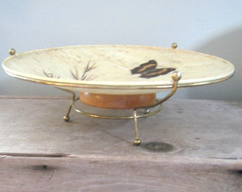 Mid Century Modern Footed Fruit Bowl Pedestal