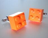 Gifts for Groomsmen -- Cufflinks -- LEGO 2x2 Orange Brick Silver Cufflinks