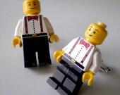 Cufflinks -- LEGO Cufflinks Man in Red Bow Tie and Suspenders Silver