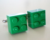 LEGO 2x2 green Brick Silver Cufflinks