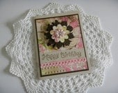 Gorgeous Pink and Brown Flowery Happy Birthday card