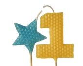 """1st Birthday Candle Set - Tall Yellow Number """"1"""" and Turquoise Star Shaped Beeswax Birthday Cake Candles on 9"""" Stem"""