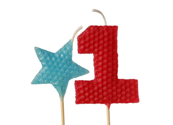"""1st Birthday Candle Set - Tall Cranberry Red Number """"1"""" and Turquoise Star Shaped Beeswax Birthday Cake Candles on 9"""" Stem"""