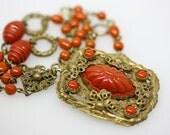 Art Nouveau Molded Art Glass Filigree Pendant Necklace