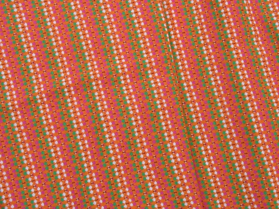 RESERVED for ELISA Vintage Knit Fabric Circular Knit Tube Orange Green Striped Fabric - 1/2 Yard