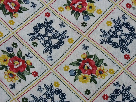 Vintage Fabric by the Yard Gauze Fabric Red Yellow Dark Blue Navy Blue Flowers Floral Fabric - 1 1/4 yard plus