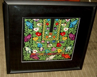 Bedouin Textile Hand Made  Embroidery Expertly Framed 2 Pieces Available