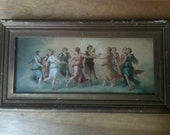 Antique Shabby Framed Print Apollo and Maidens Ancient Greece Circle Dance