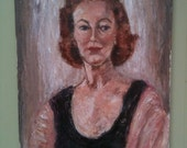Vintage Mid Century Oil Painting Portrait Redheaded Woman c1960
