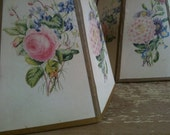 1940s Vintage Pair of Sweet n Shabby Floral Paper Lampshades