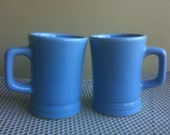 Vintage Pair of Tall Blue Diner Style Coffee Mugs DCC USA