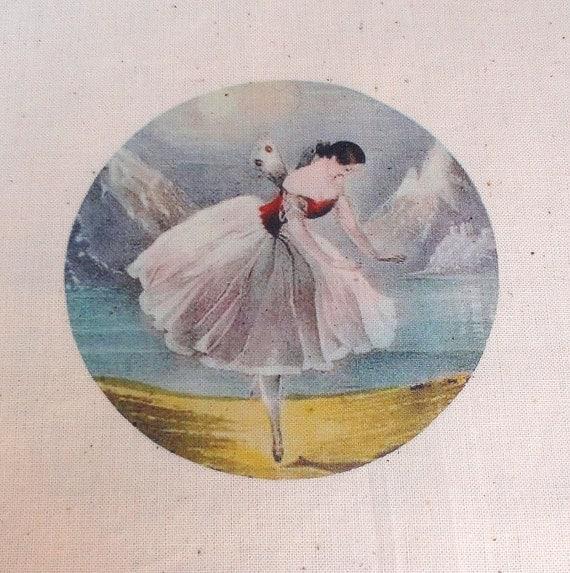 Muslin Gift Bag or Favor Bag Great FAIRY BALLERINA  Ballet in Flight XTRA Large 8x12 Natural Cotton Drawstring Gift Bag