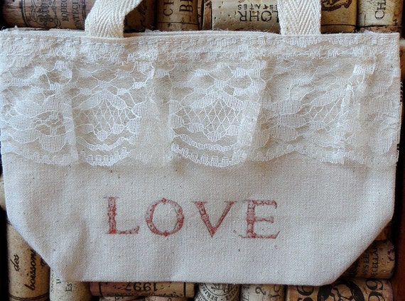 Small Favor Tote Bag or Gift Bag LACY LOVE TOTE Ready to Dress Up your Party and Gift Giving