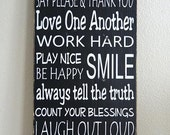 Family Rules Sign- Typography Art- Solid Wood- Black and White