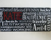 Personalized Custom Typography Sign- Subway art - Choose Your Own Colors