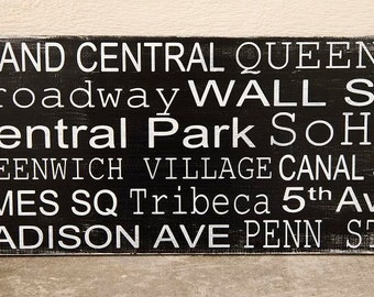 New York City Destination/Subway Stops Typography Sign