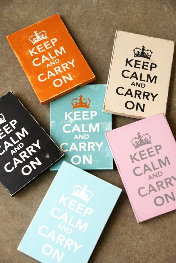 Keep Calm and Carry On Sign-Solid Wood- Distressed-Pick Your Own Colors - Smaller size