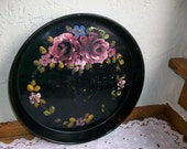 Vintage Shabby Black Tole Tray Roses/Floral Hand-Painted 12 in.