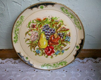 Vintage White Round Paper Mache Tole Tray Fruit/Floral 9 in.