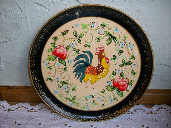 Vintage Black French Country Round Paper Mache Tole Tray Rooster 9 in.