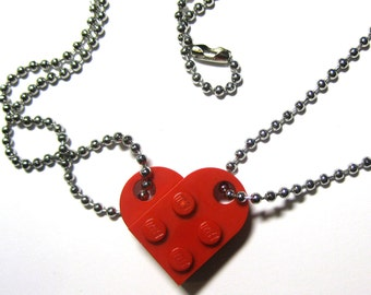 """BFF Heart Necklace Set - Made of LEGO® Bricks - 24"""" Dog Tag Style Ball Chain Friendship Friends Set - 2 Necklaces Best Friend Gift"""