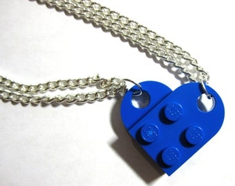 BFF Heart Necklace Set - Made of LEGO® Bricks - Friends Friendship Necklace Set - 2 Necklaces Best Friend Gift
