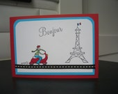 Hello Card, Thinking of You Card, Stamped Any Occasion Greeting Card, France Lover