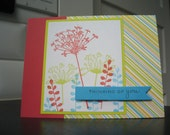 Handmade Thinking of You Get Well Soon Card Wildflowers Handstamped