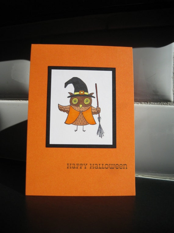 Reserved for Suzanne, Halloween Card, Owl Witch, Orange