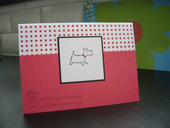 Dog Sympathy Card, Pet Sympathy Card, Red, Westie Card