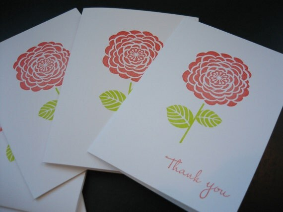 Thank You Note Cards Set of 5 Floral Handmade