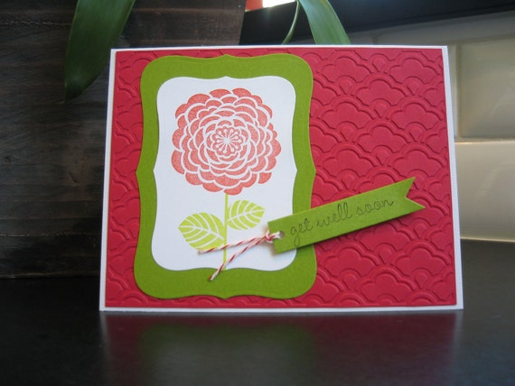 Reserved for Linda, Get Well Card, Feel Better Soon Card, Handmade Card, Red Camellia