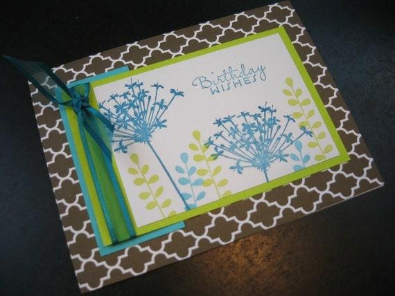Birthday Card, Floral Birthday Card, Handmade Birthday Card, Wildflowers
