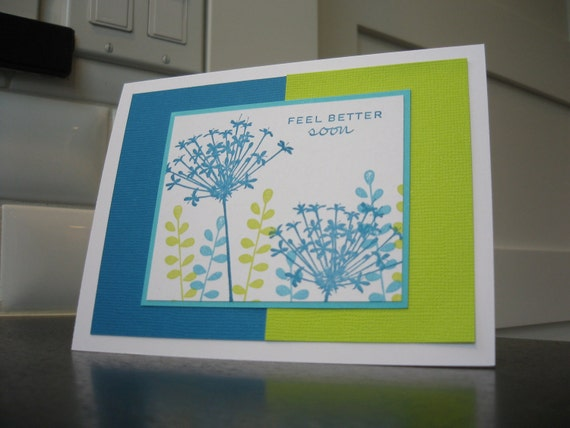 Stamped Get Well Card, Feel Better Soon Card, Teal and Green Wildflowers