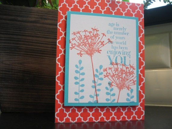 Floral Birthday Card Handmade Red and Aqua Wildflowers