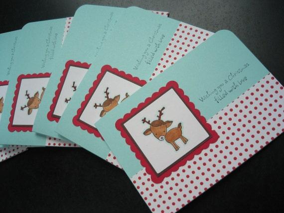 Reindeer Christmas Cards Set of 6 Winter Holidays Whimsical