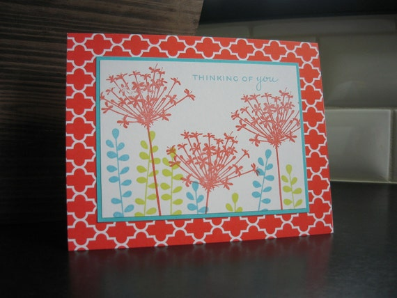 Thinking of You Card Wishing You Well Red Wildflowers