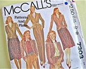 Vintage McCall's Skirt & Pants Suit,Fitted Jacket and Gathered Skirt