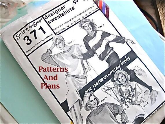 Sweatshirt Designer Patterns, Stretch & Sew 371, Vintage
